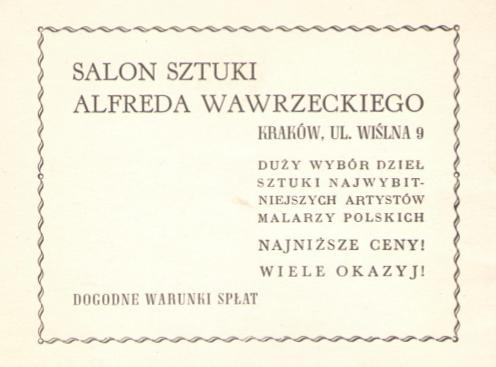 Ogłoszenie firmowe, źródło: Katalog wystawy prac Jacka Malczewskiego, TPSP Kraków, 1939