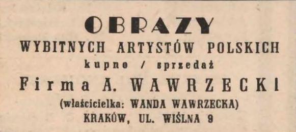 Ogłoszenie firmowe, źródło: Program Teatru Siedem Kotów na rok 1947